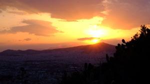 coucher du soleil sur Athènes