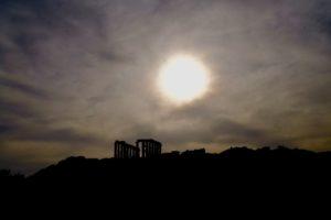 le fabuleux couché du soleil sur le temple de Poséidon !